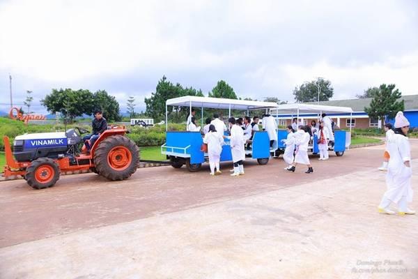 Sau khi tìm hiểu, du khách sẽ tham quan trang trại bằng xe công nông chuyên dụng. Mọi người cũng được phát đồng phục gồm áo và giày để đảm bảo vệ sinh trên hành trình. Ảnh: Domingo Phan.