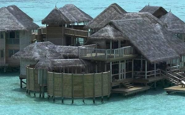 Gili Lankanfushi, Maldives  Gili Lankanfushi là khu nghỉ dưỡng nổi hoàn toàn đầu tiên ở Maldives. 44 căn biệt thự đều được làm từ những vật liệu tự nhiên, bao gồm gỗ và nguyên liệu truyền thống, và có cả hiên phơi nắng trên mặt nước. Du khách có thể đắm mình vào nhiều hoạt động dưới nước như lặn, lướt ván, và du ngoạn với cá heo.