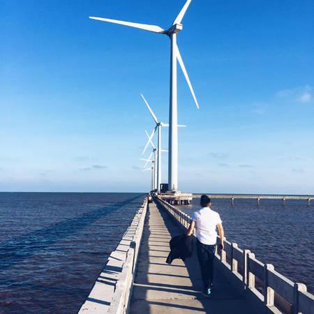 Đây không phải là hình ảnh ở nước ngoài mà chính là cánh đồng quạt gió lãng mạn ở Bạc Liêu nằm trong dự án điện gió bằng cối xay gió đầu tiên của Việt Nam. Từ trung tâm thành phố Bạc Liêu bạn theo đường Cao Văn Lầu đi ra phía biển, ở địa phận ấp Biển Đông A, xã Vĩnh Trạch Đông sẽ đến với cánh đồng quạt gió. Khoảng cách từ trung tâm thành phố đến nhà máy khoảng gần 20 km, nhưng từ cách xa cả chục cây số, bạn đã có thể nhìn thấy những trụ turbine lắp cánh quạt quay đều như những chong chóng khổng lồ in trên nền trời. Ảnh: Long Nguyễn