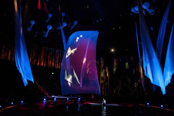 Không gian nhà hát gồm 15 tầng, trong đó 10 tầng phía trên sân khấu đều là phòng điểu khiển ánh sáng, hệ thống dây và công nghệ cao. 5 tầng phía dưới chứa các máy bơm thủy lực, thang nâng sân khấu, hệ thống hiệu ứng đặc biệt, hệ thống lọc nước lớn cùng bể chứa. Ảnh: The Wonderful World of Dance.
