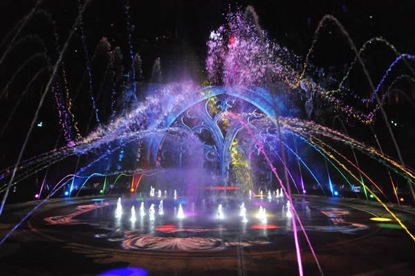 Nước chắc chắn là ngôi sao của chương trình. Hồ bơi trên sân khấu có khả năng chứa hơn 14.000 m3 nước. Đáng chú ý, buổi biểu diễn còn có sự trợ giúp của 11 thang máy thủy lực tải trọng 10 tấn, sân khấu có thể chuyển đổi từ một bể bơi đầy nước thành sàn diễn cứng chỉ trong vòng chưa đầy một phút. Ảnh: The Wonderful World of Dance.