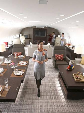 Công ty dịch vụ bay charter Deer Jet chính thức ra mắt Dream Jet, chuyên cơ mới nhất của mình hồi tháng 5/2017. Chiếc máy bay được thiết kế như một khách sạn biết bay với phòng ngủ kê giường cỡ King size, phòng tắm riêng có vòi sen và nền đá cẩm thạch được sưởi ấm tự nhiên, phòng thay đồ có két sắt. Phòng khách trang trí nghệ thuật, phòng ăn, bếp nấu cho người sành ăn, cabin hạng thương gia có thể đủ cho đoàn 18 người tháp tùng một ông chủ lớn.