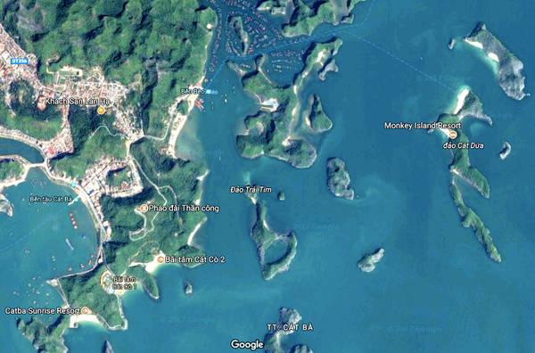 Một góc Cát Bà đẹp tuyệt vời nhìn từ vệ tinh của Google.