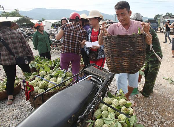 8h sáng, người dân bắt đầu chuyển na bằng tời để mang xuống chợ bán. Chợ na Đồng Bành họp hằng ngày, nằm trên đường quốc lộ 1A nên rất dễ bắt gặp.