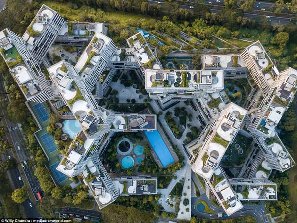 Một mẫu kiến trúc khác với màu sắc kết hợp giữa xanh và trắng rất bắt mắt