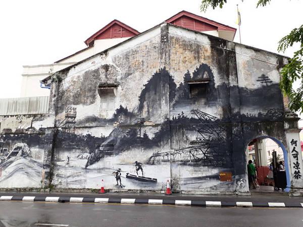Một bức tranh tường độc đáo ở Ipoh.