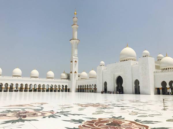 Sheikh Zayed là thánh đường Hồi giáo lớn thứ 3 thế giới với tổng diện tích hơn 22.000 m2. Công trình làm bằng đá cẩm thạch trắng, vàng, các loại đá quý và gốm sứ, cùng một hồ bơi tuyệt đẹp bao quanh, sức chứa tổng cộng 41.000 người. Các mái vòm và ngọn tháp được xây dựng công phu, tỉ mỉ, trong mỗi mái vòm đều lắp đặt loa để gọi tín đồ mỗi khi đến giờ làm lễ.