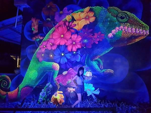 Tranh 3D phát sáng là một trong những điểm độc đáo để thu hút khách đến làng chài bên Gành Yến ở Quảng Ngãi. Anh Tuyên cho biết so với tranh tường thông thường, tranh phát sáng vẽ khó hơn vì màu trong, phải vẽ đi vẽ lại nhiều lớp, thời gian thực hiện gấp đôi bình thường. Tuy nhiên, dòng tranh này có thể phát sáng trong đêm đẹp mắt.