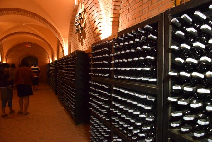 Hơn 20.000 chai rượu vang được bảo quản dọc lối đi trong hầm, nhiệt độ ở đây là 13-18 độ C, du khách có trẻ nhỏ đi cùng nên mang theo áo khoác. Ánh sáng trong hầm cũng yếu, để đảm bảo quá trình lưu trữ rượu.