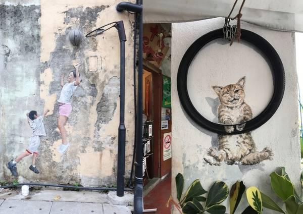 Nghệ thuật vẽ tranh đường phố là nét đặc trưng của George town. Những bức tranh tường dễ thương, sống động khiến du khách phải lùng cho bằng được.