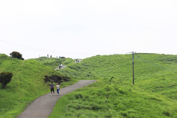 Thảm thực vật ở Kusasenri  Du lịch đảo Kyushu không thể bỏ qua vùng cỏ cây xanh tốt và những ngọn núi trùng điệp ở vùng núi lửa Aso, Kumamoto, trong đó có Kusasenri. Du khách có thể trekking các ngọn núi, cưỡi ngựa trên đồng cỏ hoặc ăn trưa ngay tại dãy nhà hàng nhìn ra phía các dãy núi. Phong cảnh yên bình sẽ làm say lòng các du khách yêu thiên nhiên. Ảnh: Phạm Quang Tuân.
