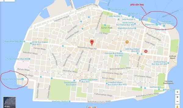 Malé có 2 bến phà - Ảnh: Maldives Map