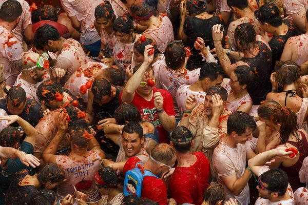 Những du khách tham gia lễ hội được yêu cầu bóp nát cà chua trước khi ném để không gây chấn thương cho người khác. Họ cũng được khuyến cáo nên mặc quần áo cũ, không mang theo đồ công nghệ và đeo kính bảo vệ mắt. Ảnh: Pablo Blazquez Dominguez / Getty.