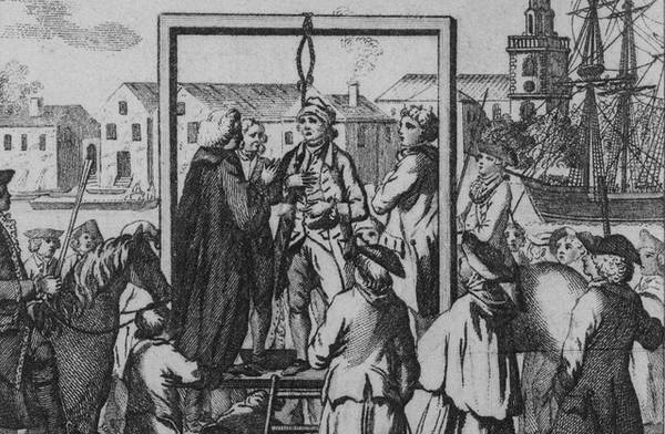 Một bản chạm khắc năm 1795 mô tả cảnh cướp biển bị treo cổ tại Execution Dock. Ảnh: Royal Museums Greenwich
