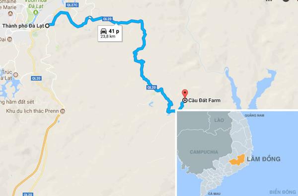 Con đường dẫn từ thành phố Đà Lạt đến Cầu Đất. Ảnh: Google.