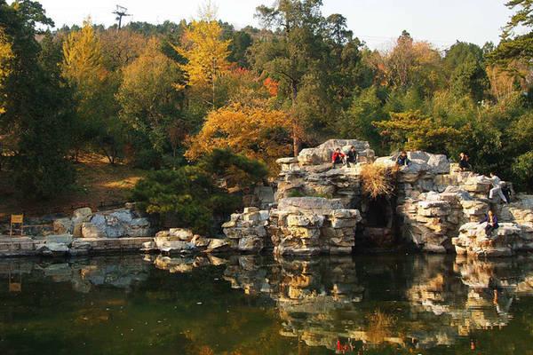 """Vào khoảng tháng 9, cả công viên Xianshan chuyển từ màu vàng thành màu đỏ rực. Ảnh: Wikimedia Commons Công viên Xianshan rộng 400 mẫu, nằm ở phía tây bắc của Bắc Kinh, thu hút rất đông du khách vào mùa thu nhờ cảnh đẹp được ví như """"rừng lửa"""".  Du khách đến đây có thể tản bộ dọc những con đường mòn phủ đầy lá khô hoặc ngồi ngắm cảnh trên một căn đình nhỏ nằm trên núi cao. Hệ thống cáp treo hiện đại sẽ đưa du khách lên cao, chiêm ngưỡng trọn vẹn khung cảnh mùa thu trong công viên."""