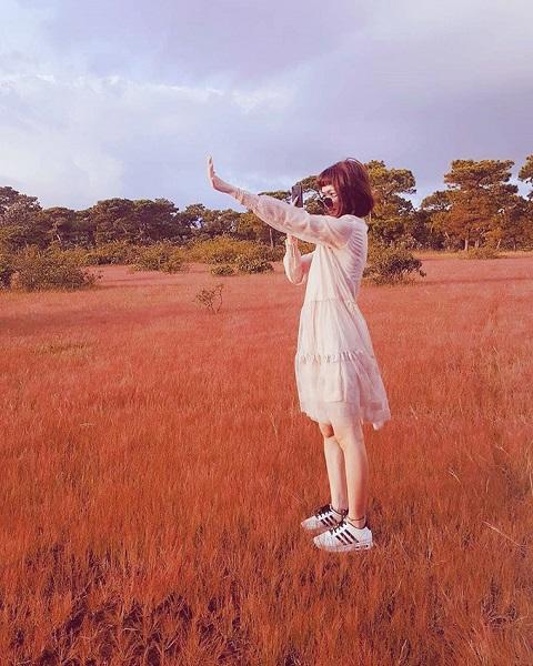 Đặt chân đến đồi cỏ hồng, bạn sẽ ngỡ mình như đang lạc vào chốn tiên cảnh. Thời điểm ngắm cỏ lý tưởng nhất là vào sáng sớm, lúc những tia nắng đầu tiên của ngày chiếu lên ngọn cỏ còn dính sương mai. Bạn cũng có thể đến vào lúc xế chiều, khi ánh hoàng hôn trải dài trên thảm cỏ. Nếu đi sâu vào bên trong đồi, bạn sẽ có nhiều góc chụp hình phong phú hơn. Ảnh: Instagram.