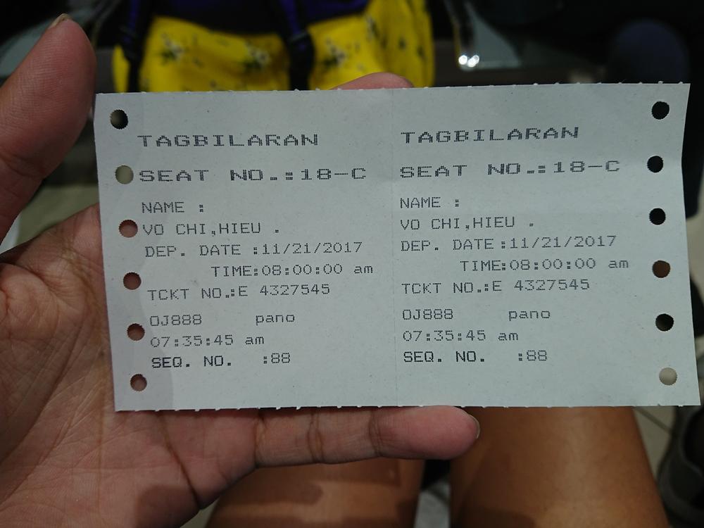 Vé tàu đi từ Cebu đến Bohol. Ảnh: Tiểu Duy