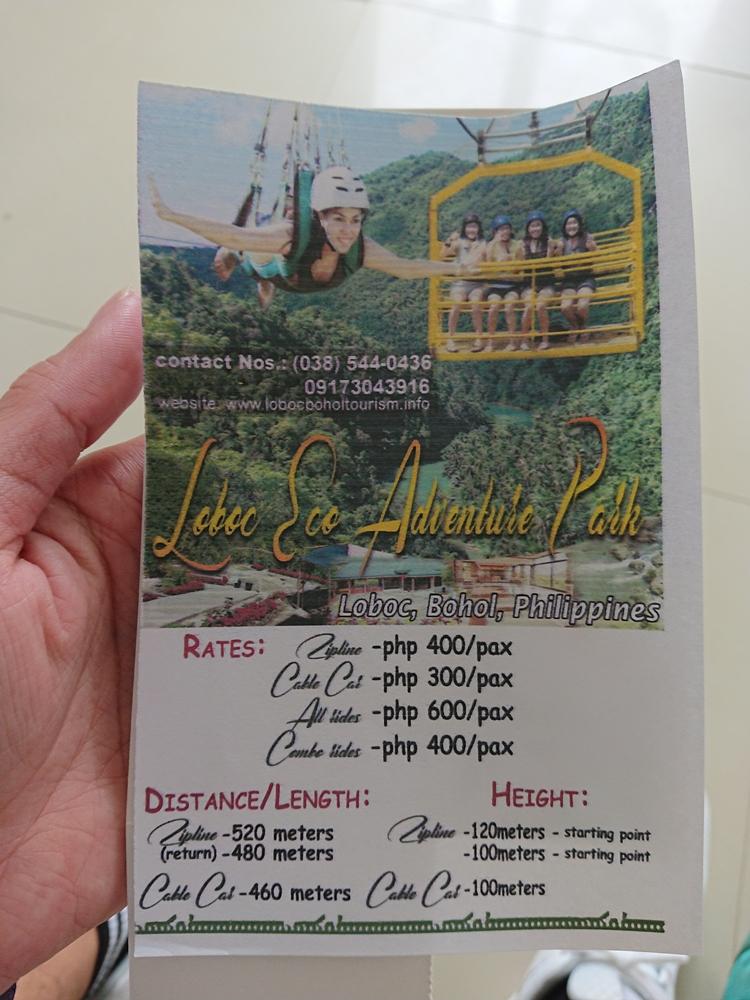 Thông tin và giá vé các trò chơi ở Loboc Eco Advanture Park. Ảnh: Tiểu Duy