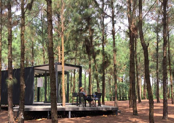 Bên ngoài các phòng triển lãm là nơi nghỉ ngơi, trò chuyện và tận hưởng không gian xanh cho du khách. Triển lãm kéo dài hết năm nay, sau đó một số container có thể được bố trí thành phòng nghỉ.