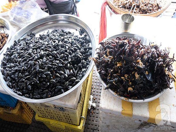 Cũng giống như Thái Lan, Campuchia có khá nhiều món ăn chế biến từ côn trùng như bọ, bò cạp. Chúng được chiên giòn, bày trên khay, hoặc xâu thành xiên, tùy từng nơi. Món này không đắt nhưng không dễ để thưởng thức.