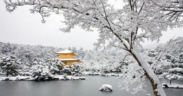 Kinkaku-ji, Kyoto  Đây là chùa Vàng - điểm đến đẹp nhất ở cố đô Kyoto. Công trình càng đẹp hơn khi mùa đông tuyết phủ bốn bề, còn chùa nổi bật với màu vàng. Công trình xây năm 1397 và là một điểm đến Phật giáo linh thiêng. Sau nhiều thế kỷ với những biến cố lịch sử, ngôi chùa Vàng hiện tại là công trình xây lại năm 1955. Những lá vàng được dát thêm trên chùa để bảo vệ những người đã khuất khỏi nguồn năng lượng xấu. Ảnh: Tim Czajkowski.