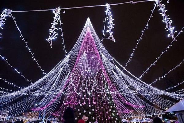 Cây thông năm nay cao 27 m, treo tới 900 món đồ Giáng sinh cùng với 70.000 bóng đèn chiếu sáng. Ảnh: Saulius Žiūra.
