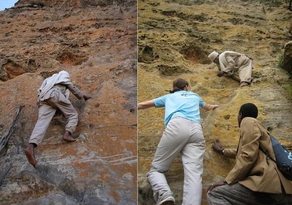 Muốn lên đến nơi, người ta phải leo lên vách núi mà không có bất kỳ dây an toàn nào. Men theo con đường hẹp, băng qua cây cầu tạm làm từ thân cây mới đến. Nhà thờ được thánh Abuna Yemata xây dựng làm nơi ẩn cư - Ảnh: Owen Barder/Flickr