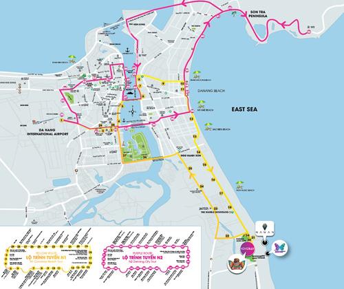 Line màu hồng là lộ trình của xe buýt N2, hoạt động từ 7h đến 22h hàng ngày.