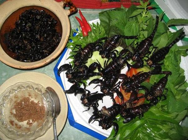 Cũng giống như Campuchia và Thái Lan, các món ăn từ côn trùng như bọ cạp, dế, châu chấu... nướng hay chiên tuy nhìn rất đáng sợ nhưng lại rất được ưa chuộng tại Lào. Nếu có can đảm, bạn có thể thử mùi vị món ăn này cho biết.