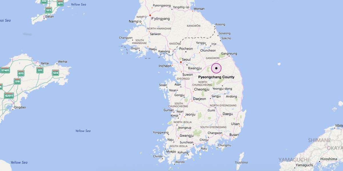 Có diện tích gần 1.500 km2 với các dãy núi và thung lũng, Pyeongchang có dân số 43.000 người sống chủ yếu bằng nông nghiệp. Đây là thành phố được Hàn Quốc chọn làm nơi tổ chức Olympic mùa đông 2018. Ảnh: Bing Map.
