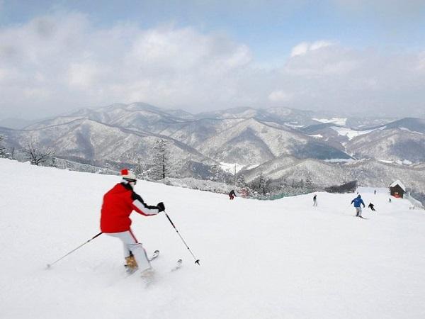 Pyeongchang hút khách du lịch nhờ có nhiều điều kiện tuyệt vời cho các hoạt động trượt tuyết. Alpensia là khu nghỉ dưỡng lớn nhất ở đây, với 6 đường trượt tuyết và lướt ván. Ảnh: Reuters.