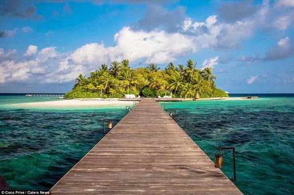 Du khách muốn tìm chỗ yên tĩnh để nghỉ dưỡng trong năm mới này có thể chọn một hòn đảo riêng tư và xinh đẹp nằm giữa biển. Coco Prive ở Madives là một hòn đảo không chỉ có cảnh đẹp tự nhiên hút hồn người mà còn có 30 nhân viên làm việc phục vụ du khách.