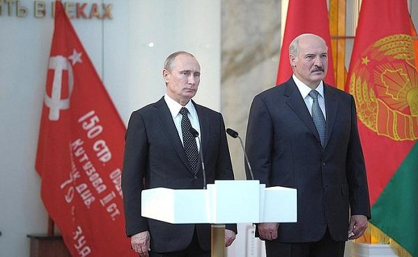 Tổng thống Vladimir Putin và tổng thống Alexander Lukashenko trong buổi khánh thành bảo tàng mới năm 2014. Ảnh: Wiki