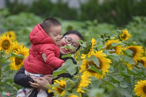 Nhiều trẻ nhỏ được bố mẹ đưa đến dạo chơi và thưởng ngoạn.