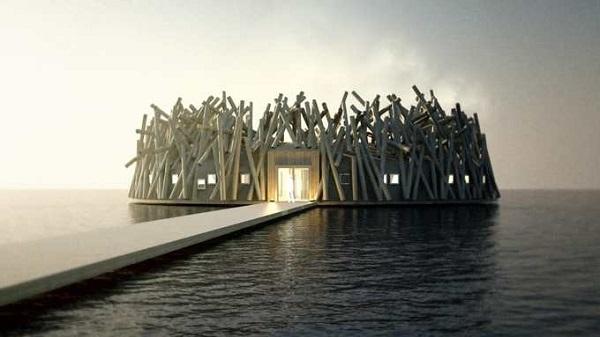 ArcticBath là một khách sạn nổi sắp mở cửa nằm trên sông Lule, miền bắc Lapland thuộc Thụy Điển.