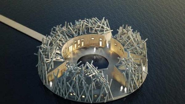 Kiến trúc sư Bertil Harstrom là người thi công dự án này, còn Johan Kauppi là nhà thiết kế nội thất. Hai người chia sẻ với CNN Travel rằng công trình có thiết kế kỳ lạ này được lấy ý tưởng từ truyền thống khai thác gỗ và chuyển gỗ bằng đường sông nước của người Thụy Điển.