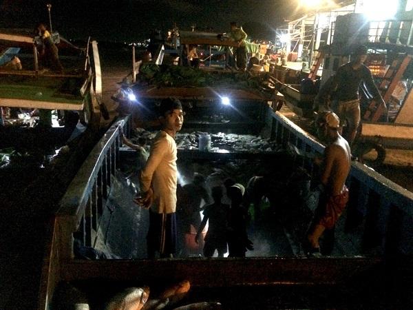 Yangon về đêm, tàu chở cá cập bến ngay chợ đầu mối hải sản. Những trai khỏe mạnh nhanh chóng vận chuyển cá vào chợ - Ảnh: Bông Mai
