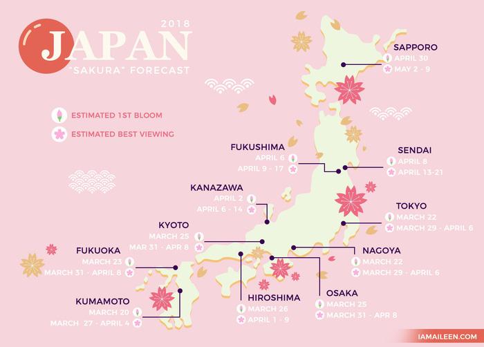 Bản đồ thời điểm hoa anh đào nở tại Nhật trong năm 2018 - Ảnh: I Am Aileen