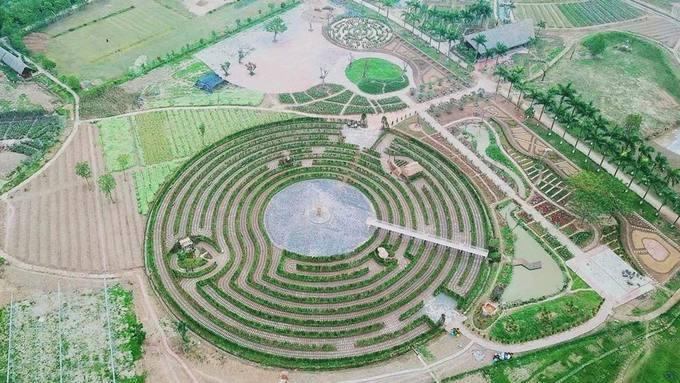 Mê cung bằng cây này được cho là lớn nhất Việt Nam, mở cửa từ 8/3, nằm ven đê sông Hồng, thuộc Long Biên, Hà Nội. Bán kính của đường tròn lớn nhất trong mê cung là 42,8 m.