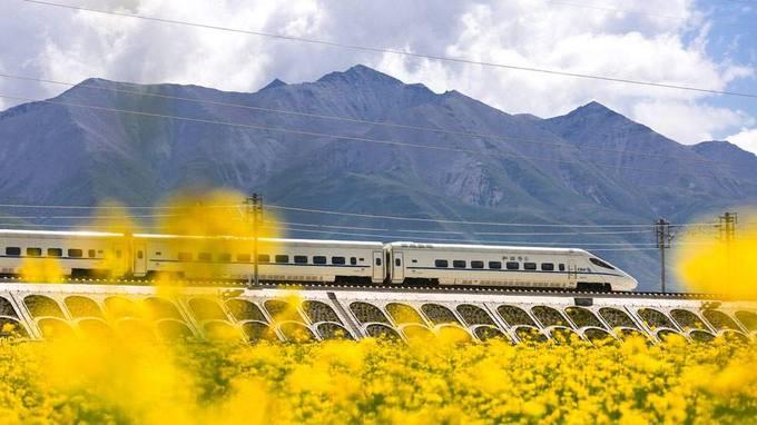 Môn Nguyên, Thanh Hải  Đây là một trong những thiên đường ngắm hoa cải nổi tiếng và rộng lớn nhất ở Trung Quốc. Mùa cao điểm bắt đầu từ tháng 7, hoa cải sẽ nở trong khoảng một tháng, nhưng nếu đến muộn tầm tháng 9-10 bạn vẫn có thể ngắm nhìn một phần hoa cải chưa lụi hết. Du khách có thể lạc vào màu vàng xa tít chân trời và ngắm nhìn tuyến tàu cao tốc trên cao đi xuyên qua hay những ngọn núi xanh hùng vĩ.