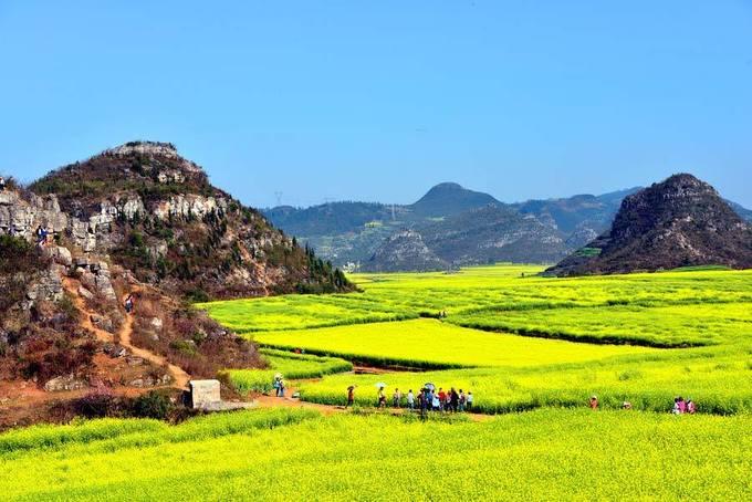 La Bình, Vân Nam  Không phải quảng cáo nhiều về địa danh này, bởi lẽ La Bình đã quá nổi tiếng không chỉ với du khách Trung Quốc mà còn với du khách nước ngoài, trong đó có Việt Nam. Từ tháng 2 đến tháng 3, huyện La Bình ngập giữa sắc vàng của 13.000 ha hoa cải vàng dài bất tận.