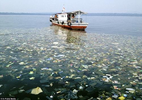 Rác phủ kín mặt nước vùng biển ngoài khơi đảo Java, Indonesia. Ảnh: A-Fram Media.