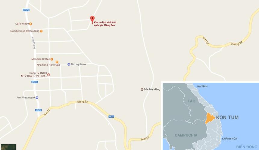 Khu du lịch sinh thái quốc gia Măng Đen, huyện Kon Plong (Kon Tum). Ảnh: Google Maps.