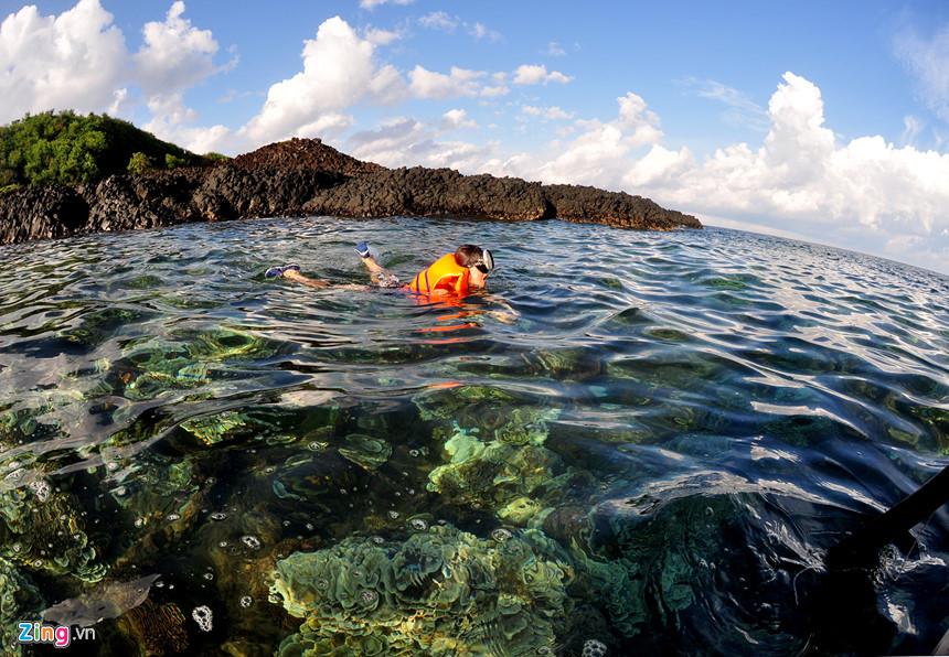 Du khách lặn ngắm dải san hô còn nguyên vẹn ở Gành Yến. Chị Mỹ Trà, du khách đến từ Hà Nội nhìn nhận kiến trúc bãi đá trầm tích núi lửa xếp chồng lên nhau của nơi này độc đáo hiếm nơi nào có được.