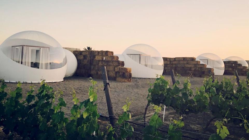 1. Khách sạn Campera Burbuja (Mexico): Nép mình trong thung lũng Guadalupe tươi tốt, trung tâm rượu vang của Mexico, Campera là lựa chọn tuyệt đối với những người yêu khám phá tự nhiên. Thay vì xây dựng phòng nghỉ truyền thống, khách sạn gần gũi với thiên nhiên này có 10 phòng bong bóng được điều hòa nhiệt độ, với giường ngủ rộng rãi, êm ái cùng phòng tắm tuyệt đẹp. Ở đó, du khách sẽ trải qua những buổi tối ngắm sao trời mỗi tối và chào ngày mới với cảnh sắc vườn nho bao quanh mình. Giá cả mỗi phòng ít nhất là 180 USD/đêm.