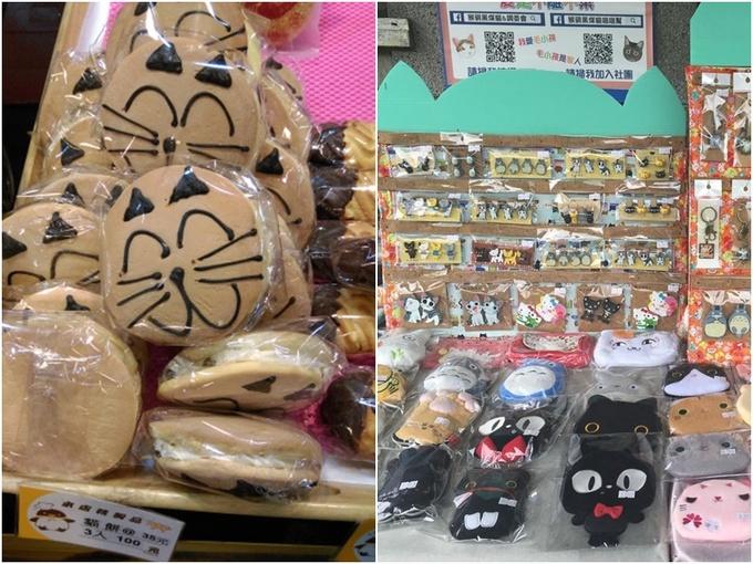 Các sản phẩm lưu niệm hay bánh kẹo hầu hết được mô phỏng theo hình mèo khiến người cuồng mèo khó có thể phớt lờ lời mời gọi.