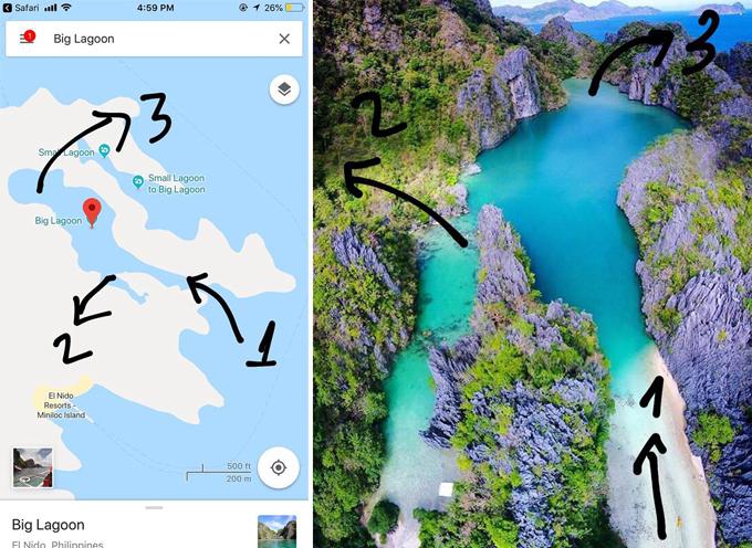 Big Lagoon trên bản đồ và ngoài đời thực cho Huyền Thu so sánh, đối chiếu.