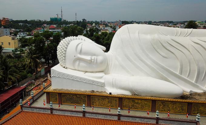 Dưới tượng là 20 bức phù điêu thể hiện cuộc đời của Đức Phật từ lúc Đản sinh đến lúc nhập Niết bàn. Quanh tượng còn được trang trí 840 cánh hoa sen đắp bằng xi-măng.  Ngôi chùa phía dưới tượng rộng 600 m2 dành làm thư viện, nơi học tập, tổ chức hội nghị, đại hội... đồng thời cũng là Trung tâm Văn hóa Phật Giáo tỉnh Bình Dương.