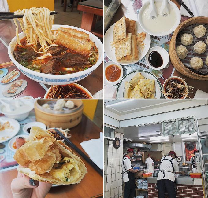 """Yến Nhi chia sẻ: """"Tụi mình đi du lịch nước ngoài hay tìm những quán địa phương đặc biệt, chỉ người địa phương ăn là chủ yếu. Vì thế, chuyến đi này sẽ khám phá thêm vài nơi và chia sẻ cho mọi người"""". Ngay ngày đầu tiên khi đến Đài Bắc, hai người đẹp đã thưởng thức ngay các món ăn sáng đặc trưng ở xứ Đài như bánh xiaolongbao, bánh bao, bánh rán hay mì bò trứ danh. """"Bữa ăn hơi nhiều bột nhưng nói chung là ăn ngon, không bị ngán mà no vì tụi mình gọi nhiều món để nghiên cứu. Vị không quá đậm, rất vừa miệng. Mỗi món ăn có giá từ 28 Đài tệ đến 210 Đài tệ"""", người đẹp bật mí."""